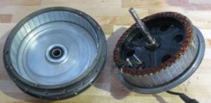 Direct-Drive hubs (DD), El eje y el estator están fijos, y la parte hilada está a la derecha.