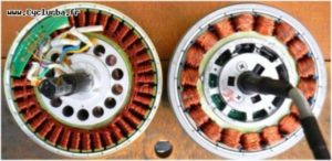 La tarjeta verde es lo que sujeta los tres sensores hall, en el motor de la derecha la tarjeta esta en el lado contrario.